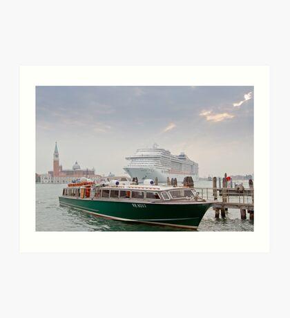Huge Liner at Venice, Italy Art Print