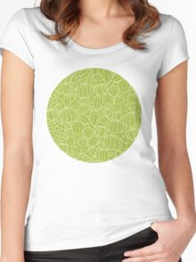 Cactus plants texture pattern Women's Fitted Scoop T-Shirt