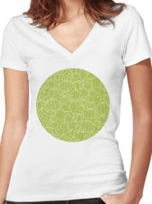 Cactus plants texture pattern Women's Fitted V-Neck T-Shirt
