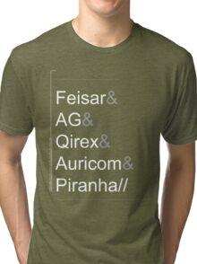 Wipeout XL/2097 Roster Shirt WhiteText (Feisar&AG&Qirex&Auricom&Piranha) Tri-blend T-Shirt