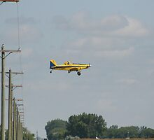 Sprayer Plane Over Power Lines by rhamm