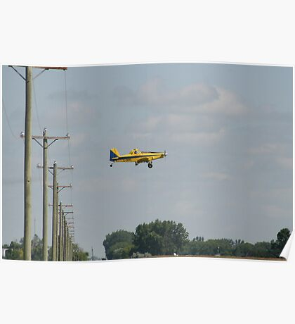 Sprayer Plane Over Power Lines Poster