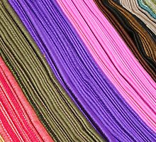 Rows of Colored Scarves at the Otavalo Market by rhamm