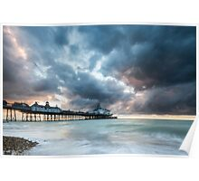Stormy sunrise over Eastbourne Pier Poster