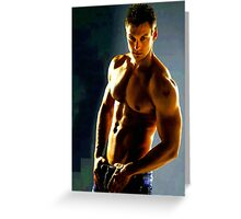 Gym Hunk in Blue Jeans Greeting Card