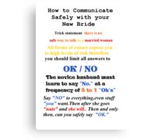 Advice to New Husbands Canvas Print