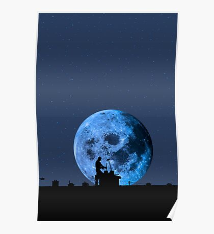 chimney sweep silhouette on the rooftop against full moon Poster