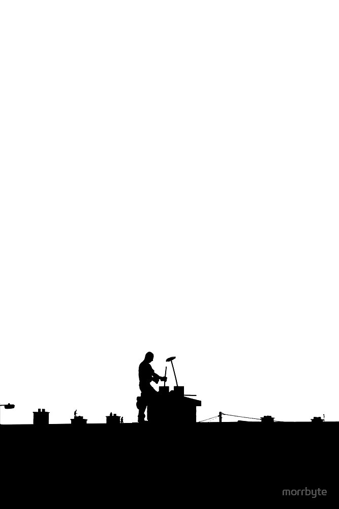 chimney sweep silhouette on the rooftop against white by morrbyte