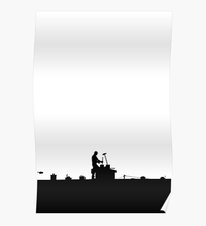 chimney sweep silhouette on the rooftop against white Poster