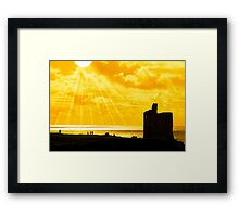 people at ballybunion castle at sunset Framed Print