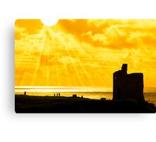 people at ballybunion castle at sunset Canvas Print