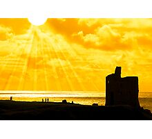 people at ballybunion castle at sunset Photographic Print