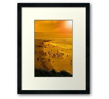 people enjoying the beach Framed Print