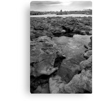 rock formations with castle in black and white Canvas Print