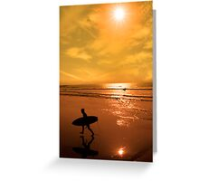 silhouette of surfer walking from the sea Greeting Card