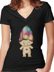 Rainbow Troll Women's Fitted V-Neck T-Shirt