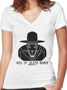 KISS OF DEATH BABY! Women's Fitted V-Neck T-Shirt