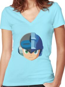 Mega Man-Mighty No. 9 Women's Fitted V-Neck T-Shirt