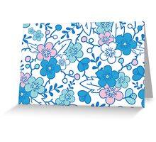 Blue pink kimono flowers pattern Greeting Card