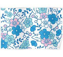 Blue pink kimono flowers pattern Poster