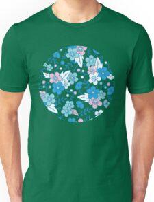 Blue pink kimono flowers pattern Unisex T-Shirt