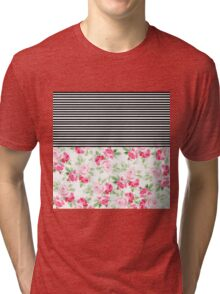 Vintage pink red watercolor flowers stripes  Tri-blend T-Shirt