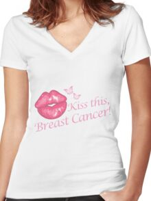 Kiss This Breast Cancer Women's Fitted V-Neck T-Shirt