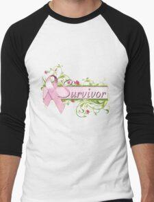 Pink Survivor Floral Men's Baseball ¾ T-Shirt