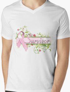 Pink Survivor Floral Mens V-Neck T-Shirt