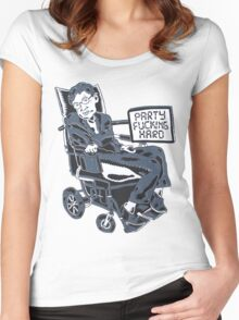 Stephen Hawking Party Hard Women's Fitted Scoop T-Shirt