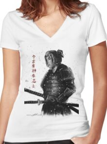 Samurai Warrior  Women's Fitted V-Neck T-Shirt
