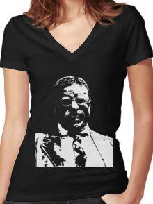 Black and white silhouette art Teddy 'Bear' Roosevelt Women's Fitted V-Neck T-Shirt