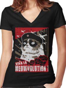 Viva La MeowVolution ! Women's Fitted V-Neck T-Shirt
