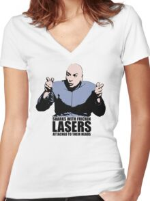 Dr. Evil Sharks With Frickin Lasers Austin Powers Tshirt Women's Fitted V-Neck T-Shirt