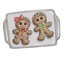 Gingerbread Couple Cookies Photographic Print