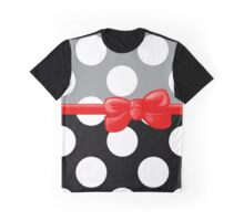 Ribbon, Bow, Polka Dots - Black Gray Red Graphic T-Shirt