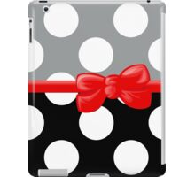 Ribbon, Bow, Polka Dots - Black Gray Red iPad Case/Skin