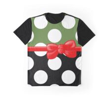 Ribbon, Bow, Polka Dots - Black Green Red Graphic T-Shirt