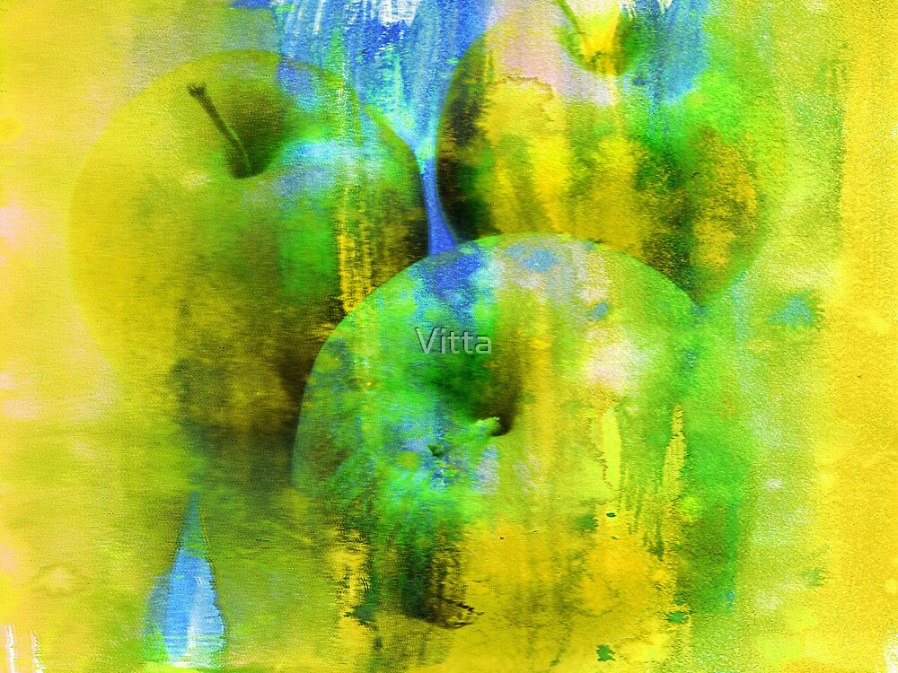 Apples.Digital Watercolor Painting. by Vitta