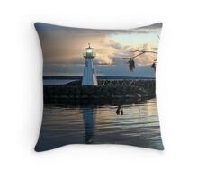 Outer Lighthouse on Prescott Harbour Lake Ontario Throw Pillow