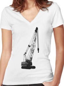 black crane Women's Fitted V-Neck T-Shirt