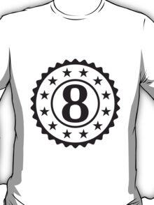 Number 8 Stamp Star Design T-Shirt