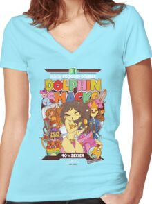 Moon Frosted Double Dolphin Smacks Women's Fitted V-Neck T-Shirt