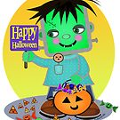 Halloween Little Frankenstien Monster  by Jamie Wogan Edwards