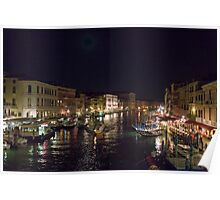 Busy night on the Grand Canal Poster