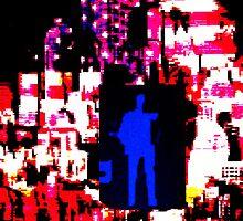 Blue man in US landscape by sebmcnulty