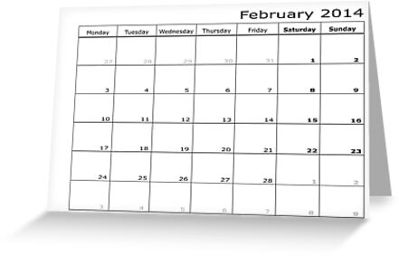 Calendar month February 2014 start MONDAY by feiermar