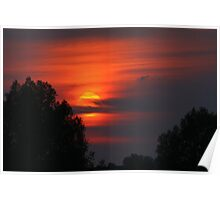 Cloudy Oxfordshire Sunset Poster