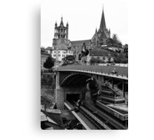 Saint Pierre Cathedral from Pont Charles Bessières, Lausanne, Switzerland Canvas Print