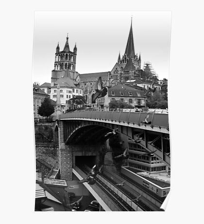 Saint Pierre Cathedral from Pont Charles Bessières, Lausanne, Switzerland Poster